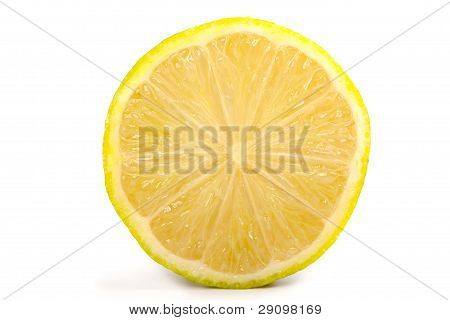 Single Cross Section Of Yellow Lemon