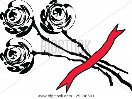 Black Roses On A White Background