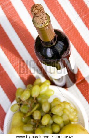 delicious appetizer - red wine and fruits