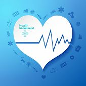 Blue Background With Cardiogram In Heart Symbol In Center And Medical Icons Around Flat Vector Illus poster