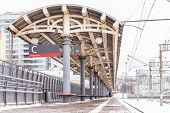 Railway Platform In Winter At Kursk Railway Station In Moscow, Russia. poster
