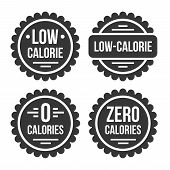Low Or Zero Calorie Product Label Set On White Background. poster