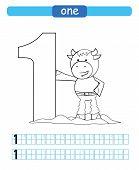 One. Learning Number 1. Coloring Printable Worksheet For Kindergarten And Preschool. Bull. poster