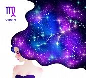 Virgo Zodiac Vector Illustration. Horoscope Symbol As Female Cartoon Character. Gradient Space And S poster