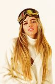 Feeling Playful. Cheerful Winter Girl. Ski Resort And Snowboarding. Happy Winter Holidays. Girl In S poster