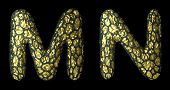 Realistic 3D letter set M, N made of gold shining metal. Collection of gold shining metallic with bl poster