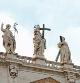Statue Of Jesus Christ Risen Above Saint Peters Basilica In The poster