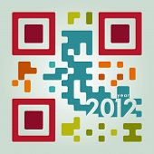 stock photo of qr-code  - 2012 qr code in cool colors - JPG