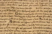 stock photo of annal  - Old page of a medieval latin script - JPG