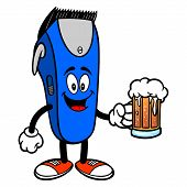 Electrical Hair Clipper Mascot With A Beer - A Vector Cartoon Illustration Of A Barber Shop Electric poster