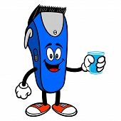 Electrical Hair Clipper Mascot With A Glass Of Water - A Vector Cartoon Illustration Of A Barber Sho poster