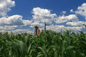 Landscape at springtime with corn field and fluffy clouds and a factory in the background poster