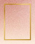 Gold rectangle frame on a rose gold background poster