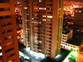 picture of medellin  - This is a night shot of a residential building of Medellin Colombia