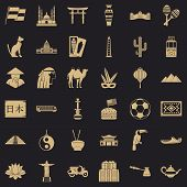 World Tour Icons Set. Simple Style Of 36 World Tour Vector Icons For Web For Any Design poster