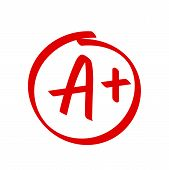Grade A Plus Result Vector Icon. School Red Mark Handwriting A Plus In Circle poster