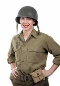 A Pretty Young Woman Dressed In Ww2 American Military Uniform With Helmet poster