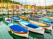 Historic Port Area Of Nice. Fishing Boats In The Port Of Nice, France poster