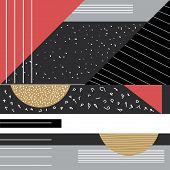 Trendy Geometric Elements Memphis Cards. Geometric Style Texture, Pattern And Geometric Elements. Mo poster