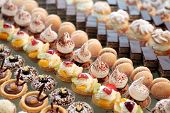 foto of french pastry  - Diversity of pastry decorated with fruit - JPG