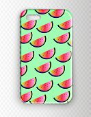 Stylish Vector Mockup Cover For Smartphone. Neon Stylish Youth Cover With Watermelons. Bright, Summe poster