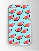 Stylish Vector Mockup Cover For Smartphone. Neon Stylish Youth Cover With Watermelons. Watermelon Pa poster