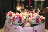 picture of wedding table decor  - Romantic dinner table prepared for newlyweds - JPG