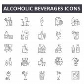 Alcoholic Beverages Line Icons For Web And Mobile Design. Editable Stroke Signs. Alcoholic Beverages poster