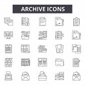 Archive Line Icons For Web And Mobile Design. Editable Stroke Signs. Archive  Outline Concept Illust poster