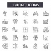 Budget Line Icons For Web And Mobile Design. Editable Stroke Signs. Budget  Outline Concept Illustra poster