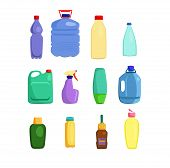 Cleaning Supplies And Lubricants Set. Housekeeping Collection. Can Be Used For Topics Like Disinfect poster