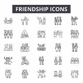 Friendship Line Icons For Web And Mobile Design. Editable Stroke Signs. Friendship  Outline Concept  poster