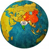 Apta On Globe Map With Asia poster