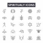 Spiritual Line Icons For Web And Mobile Design. Editable Stroke Signs. Spiritual  Outline Concept Il poster