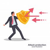 Attack Protection. Businessman Holds A Shield Defending From Attacks. Reflection Impact. Vector Illu poster