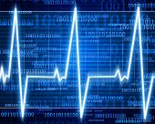 foto of blue-screen-of-death  - Heart monitor on a dark blue background - JPG