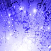 picture of musical note  - Music notes on a blue background - JPG