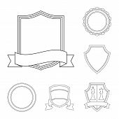 Vector Illustration Of Emblem And Badge Symbol. Set Of Emblem And Sticker Stock Symbol For Web. poster