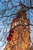 Manchester Town Hall, Albert Square With Red Chinese Lanterns Decorating The Bare Branches Of The Tr poster