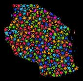 Bright Vector Cannabis Tanzania Map Collage On A Black Background. Template With Psychedelic Weed Le poster