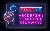 Stand Up Neon Signboard In Frame Vector. Microphone In Hand Neon Sign, Stand Up Design Template, Mod poster