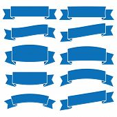 Set Of Blue Ribbon Banner Icon,glyph Ribbon Banner,ribbon Vector Banner, On White Background poster