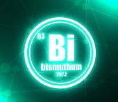 Bismuthum Chemical Element. Sign With Atomic Number And Atomic Weight. Chemical Element Of Periodic  poster