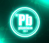 Plumbum Chemical Element. Sign With Atomic Number And Atomic Weight. Chemical Element Of Periodic Ta poster