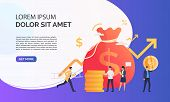 Capital Increasing Violet Presentation Illustration. People Increase Money Capital And Profit.  Busi poster