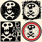 picture of skull crossbones  - abstract hand drawn icons - JPG