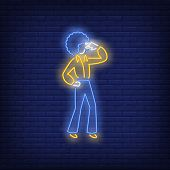 Disco Dancer Neon Sign. Glowing Neon Dancer In Retro Style On Brick Wall Background. Vector Illustra poster