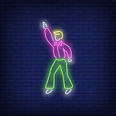 Retro Dancer Neon Sign. Glowing Neon Dancer On Brick Wall Background. Vector Illustration Can Be Use poster