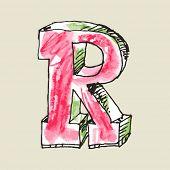 crayon alphabet, hand drawn letter R