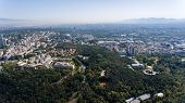 Aerial view over the capital Sofia, capital of Bulgaria poster